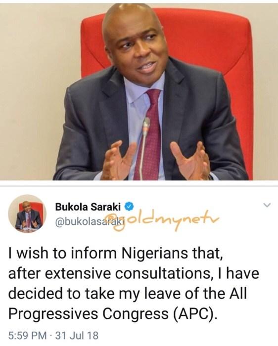 JUST IN: Saraki pulls out of APC