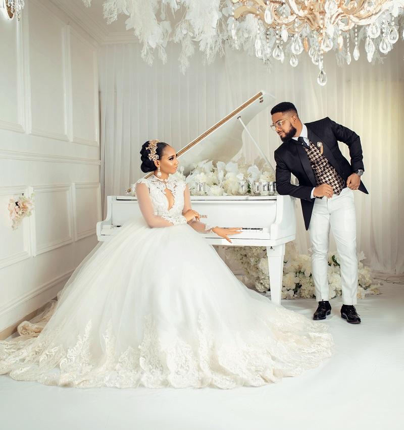 TruFlair x Freshbydotun debut 2020 bridegroom collection titled The Grandeur featuring Juliet Ibrahim, VJ Adamz